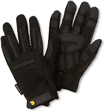 Carhartt Men's Ballistic Spandex Work Glove with TPR Knuckle Protection, Black, Small