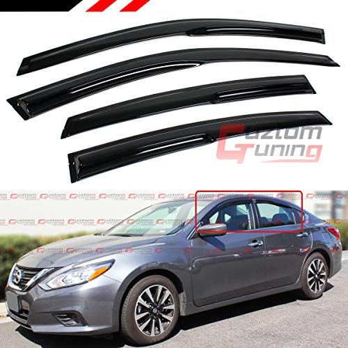 Cuztom Tuning Fits for 2016-2018 Nissan Altima Smoke Tinted 3D Wavy Window Visor Rain Guard Deflector (2018 Nissan Altima Rain Guards)
