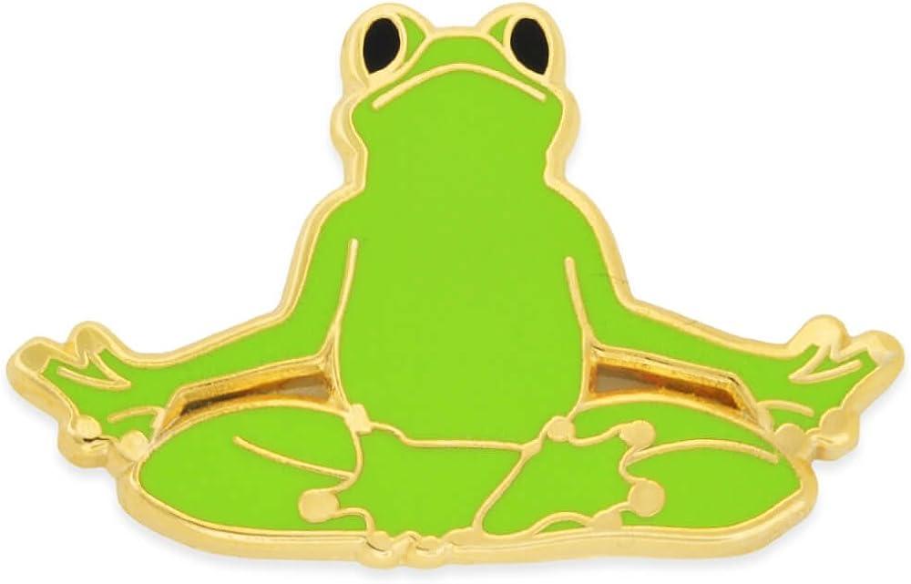 Easy Pose Frog Trendy Enamel Lapel Pin PinMart Yoga Frog