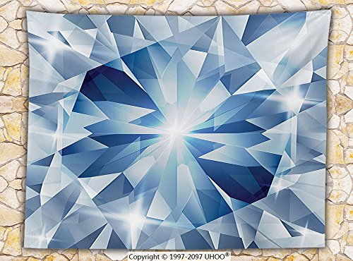 Diamond Decor Fleece Throw Blanket Floral Shaded Group Of Sparkling Frozen Diamonds With Stylish Patterns Decorative Throw Blue Silver