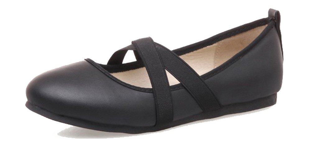 SHOWHOW Women's Comfy Slip On Pump - Round Toe Flat Heel - Cross Elastic Strap Black 8.5 B(M) US