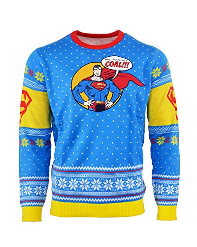 Superman Ugly Christmas Sweater 'Bad Guys Get Coal' for Men Women Boys and Girls - -