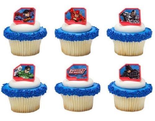 CakeDrake JUSTICE LEAGUE Superman BATMAN Flash GREEN LANTERN Cyborg 24 Cupcake Party RINGS