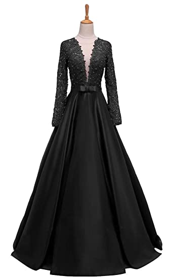 Ai Maria Womens New Arrival Long Sleeve Evening Dresses Pearls Party Dresses Sheer Back Vintage Prom