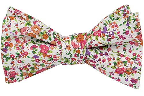 Mens Floral Self Tie Bowties-100% Cotton Butterfly Bow Ties-Various Colors (Cherry Red with Lime and Orange)