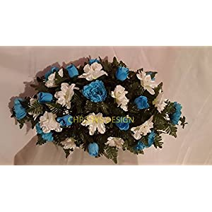 Cemetery Saddle made with Blue Roses, White Butter Cups and Blue Peony 25