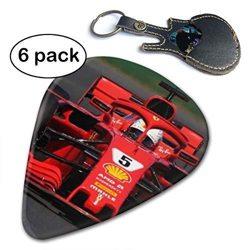 F1 Formula One Sebastian Vettel Ferrari Racing Car Box Acoustic Electric Bass Guitar Picks 6 Pack Thin Medium Heavy