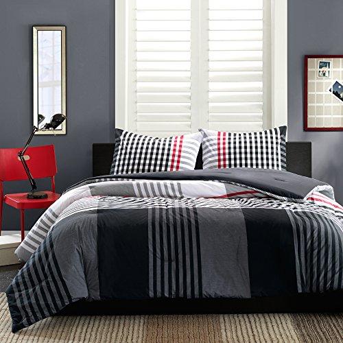 INK+IVY Blake 2-Piece Comforter Set, Twin, Black ()