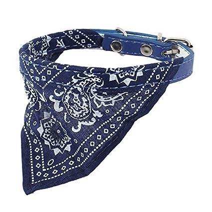 eDealMax Collar del Animal doméstico Individual Hebilla Triangular del pañuelo, Azul