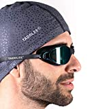 TADDLEE Men Swim Cap PU Fabric Silicone Lycra Swimming Hat Pool Waterproof Sports Adult Swim Wear Accessories Large Size Outdoor(Gray)