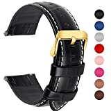 7 Colors for Quick Release Leather Watch Band, Fullmosa Bamboo Series Genuine Leather Replacement Watch Strap with Stainless Metal Clasp, Black golden buckle, 20mm