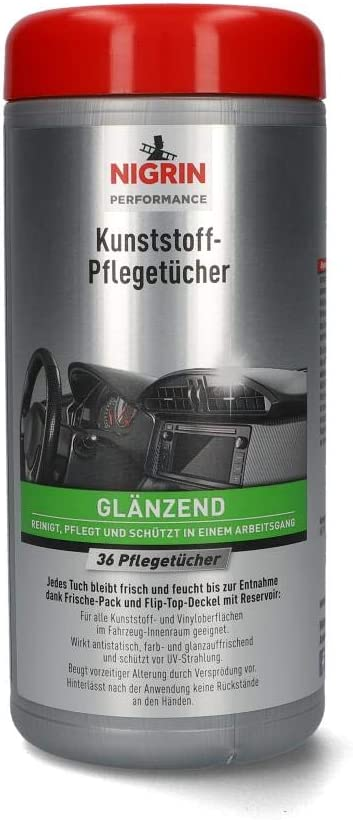 Nigrin Kunststoff Pflege Tücher Glänzend Feuchte Tücher Für Kunststoff Und Vinyoberflächen Im Fahrzeug Innenraum 36 Stück Auto