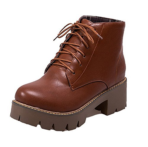 AgooLar Women's Kitten-Heels PU Solid Lace-up Round-Toe Boots Brown OsKVD7z