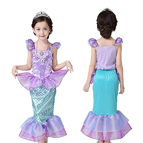 [Easter Dress, Mermaid tail Fancy Ruffle Sleeve Dresses for Girl Princess Christmas Party Dresses Ariel Bling Cosplay Costume by] (Ariel Tail Costumes)