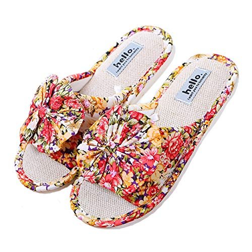 Cotton on for Home Women Indoor House Red Soft Orange Slippers xsby Toe Slip Open Men E Shoes BTAHqw