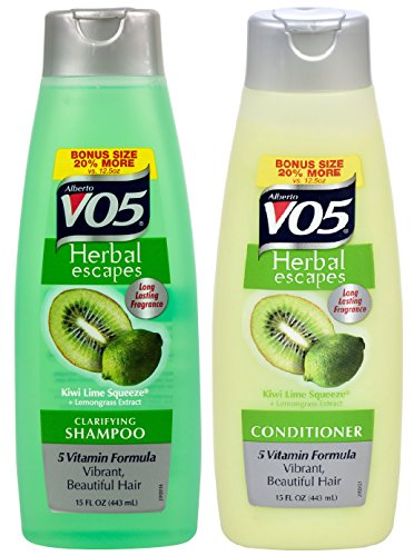 Herbal Lemongrass Shampoo (Alberto VO5 Herbal Escapes Kiwi Lime Squeeze + Lemongrass Extract Shampoo & Conditioner 15 Oz ( 2 PACK ))