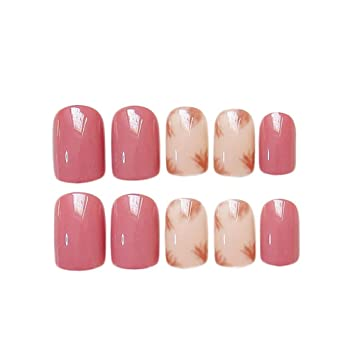 JINDIN 24 Sheet Pink Beige Fake Nails For Girls Short Square Acrylic False With Glue