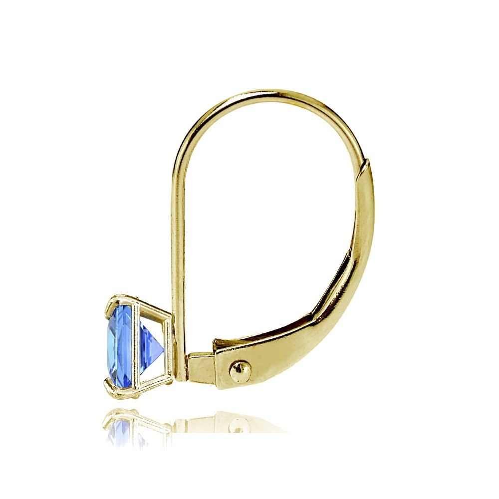 Bria Lou 14k Yellow Gold Tanzanite Gemstone 6mm Square-Cut Leverback Drop Earrings by Bria Lou (Image #2)