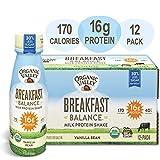 Organic Valley, Vanilla Bean Milk Protein Shake, Healthy Snacks, Breakfast Balance, 11oz (Pack of 12)
