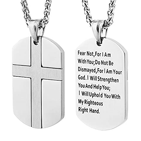 HZMAN Isaiah 41:10 Jewelry, Stainless Steel cross Dog Tag Necklace STRENGTH Bible Verse (Silver) - Stainless Dog Tag Fashion Necklace