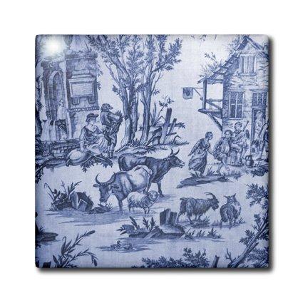 Toile Ceramic (3dRose ct_34729_1 French Blue Farm Toile-Ceramic Tile, 4-Inch)