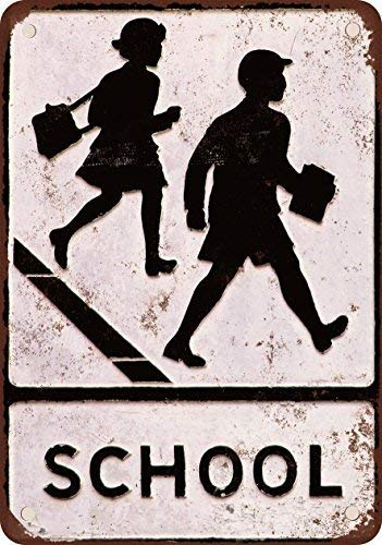 hiusan School Crossing Funny Vintage Metal Signs Decorative Metal Tin Sign Poster Plate Wall Plaque Wall Art Decor 8x12 inch Gifts Idea