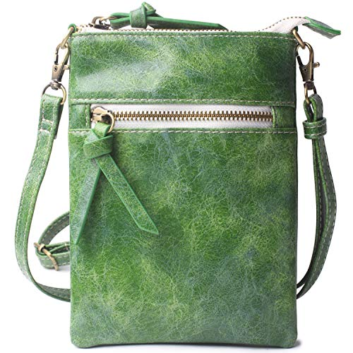 Mini Crossbody Cell Phone Purse Holder Wallet for Women Original Vegan Leather Green Women's Small Handbag