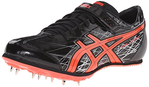 ASICS Men's Long Jump Pro-M, Black/Flash Coral/Silver, 9.5 M US (Best Long Jump Spikes)