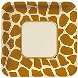 Creative Converting Animal Print Giraffe Square Dinner Plates, 8 Count