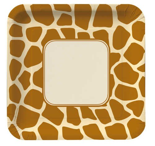 Creative Converting Animal Print Giraffe Square Dinner Plates, 8 Count (Print Dinner)