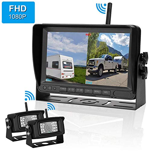 (FHD 1080P Digital Wireless 2 Backup Camera for RVs/Trailers/Trucks/Motorhomes/5th Wheels 7''Monitor with DVR Highway Monitoring System IP69K Waterproof Super Night Vision)