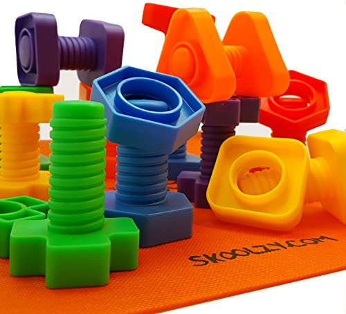 Skoolzy Nuts and Bolts Fine Motor Skills - Occupational Therapy Toddler Toys - Montessori Building Construction Kids Matching Game for Preschoolers - Jumbo 24 pc SetBackpack & Activity Download