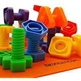 Skoolzy Nuts and Bolts Fine Motor Skills - Occupational Therapy Toddler Toys - Montessori Building Construction Kids Matching Game for Preschoolers - Jumbo 24 pc Set with Backpack & Activity Download
