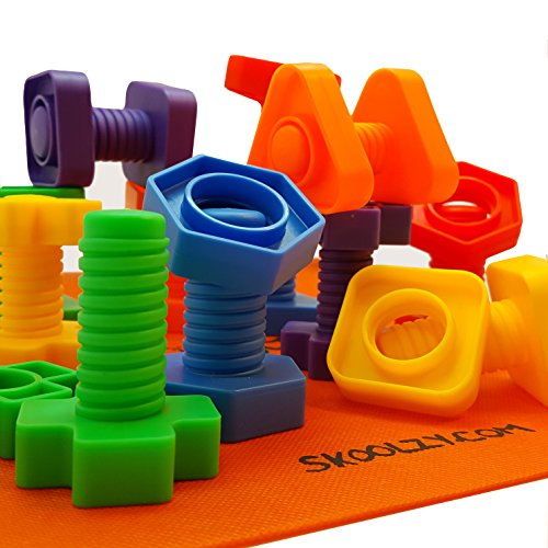 Skoolzy Nuts and Bolts Fine Motor Skills - Occupational Therapy Toddler Toys - Montessori Building Construction Kids Matching Game for Preschoolers - Jumbo 24 pc Set with Backpack & Activity Download]()