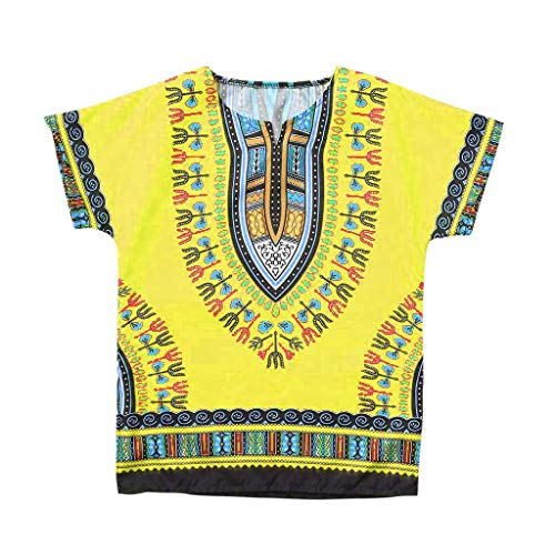 ❤️ Mealeaf ❤️ Boy Girl Kids Baby Unisex Bright African Colour Child Dashiki T Shirt Tee Tops(Yellow,160)
