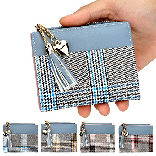 Laynos Wallet for Women Plaid RFID Blocking PU Leather Coin Purse for Girls Small Tassel Card Holder Blue
