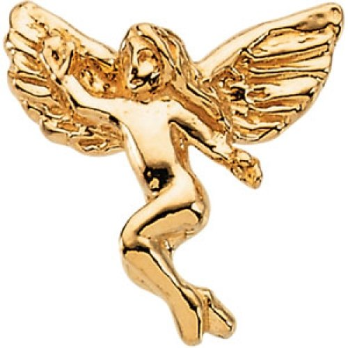 14k Yellow Gold Dancing Angel Lapel Pin 12x13mm by JewelryWeb