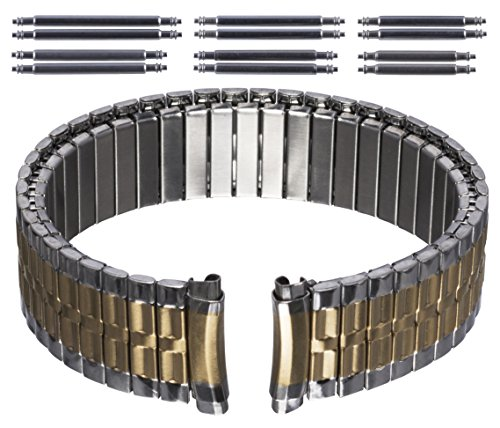 Gilden Gents Expansion 16-20mm Curved-End Two-Tone Stainless Steel Watch Band 540-TC