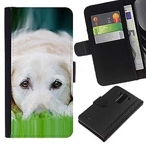 Labrador Dog Pet Canine White - la tarjeta de Crédito Slots PU Funda de cuero Monedero caso cubierta de piel LG G3