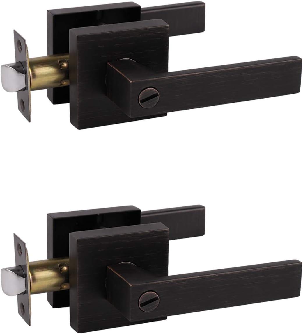 Reversible for Left Right Sided Door Keyless Door Lock Interior Bathroom Bedroom Door Handle Probrico Matte Black Bed Bath Door Lever Heavy Duty Privacy Door Handle