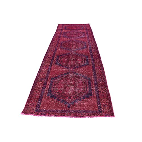 Viss Persian Rugs (Hand-Knotted Pink Overdyed Persian Viss Wide Gallery Size Rug (3'4''x11'))