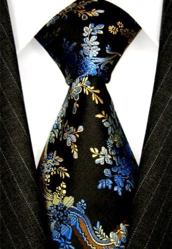 84245 LORENZO CANA Luxury Italian 100/% Silk Tie Jacquard Woven Black Blue Floral