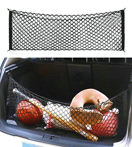 Ice-man Black Universal Adjustable Elastic Stretchable Cargo Net with Hooks Trunk Car Organizer,Storage, Mesh, Nylon, Bungee for Car,SUV, Truck (Universal Cargo Net)