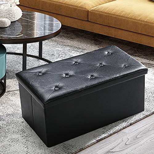 ASLIFE Folding Storage Ottoman Bench Foot Rest Stool Chest