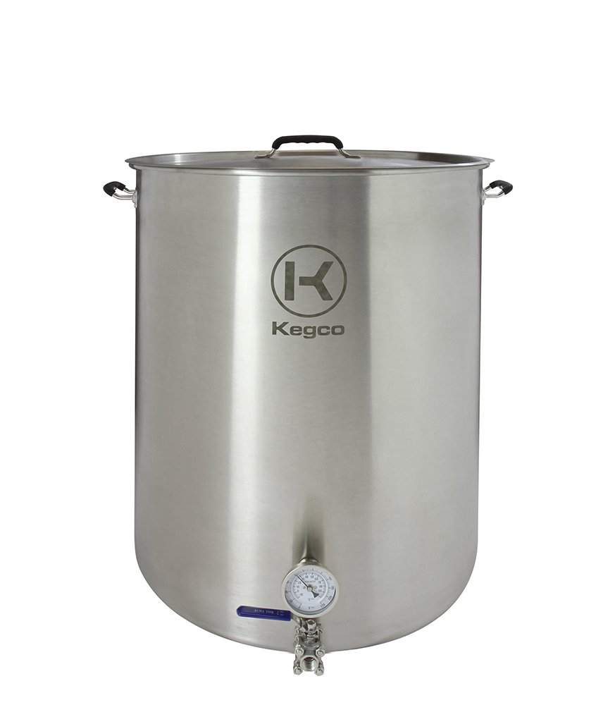 Kegco 50 Gallon Brew Kettle with Thermometer & 3-Piece Ball Valve