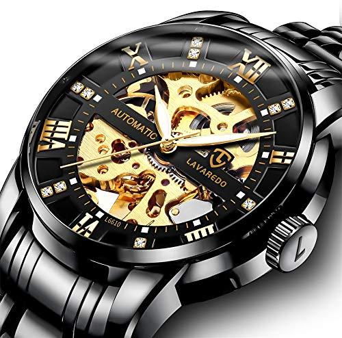 Men's Watch Black Luxury Mechanical Stainless Steel Skeleton Waterproof Automatic Self-Winding Rome Number Diamond Dial Wrist Watch