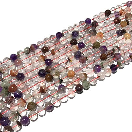Jaipur Gems Mart AAA 1 Natural Strand Super 7 Melody Bolas de Piedras Preciosas Perlas para Hacer la joyería | 10 mm Alrededor de Granos | Plain Granos Flojos de la Ronda | Strand 15