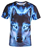 AIEOE Unisex 3D Printed Couple Top Graphic T Shirts Summer Casual Cool Top Tees War Wolf 3XL