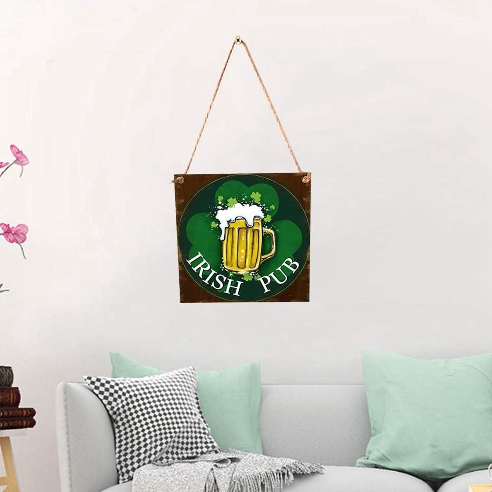 Amosfun Plaque Bois R/étro avec Tr/èfle Shamrock et Bi/ère D/écoration Saint Patrick Irlandais Irish Pub Plaque Murale en Bois D/écorative Vintage avec Ficelle 40cm