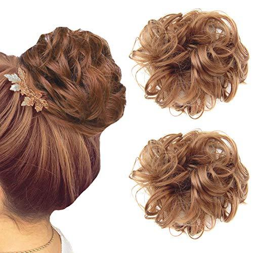 2 PCS Hairpieces Short Curly Hair Extension Messy Hair Bun Updo Hair Piece Wig Scrunchy-Light Auburn 30